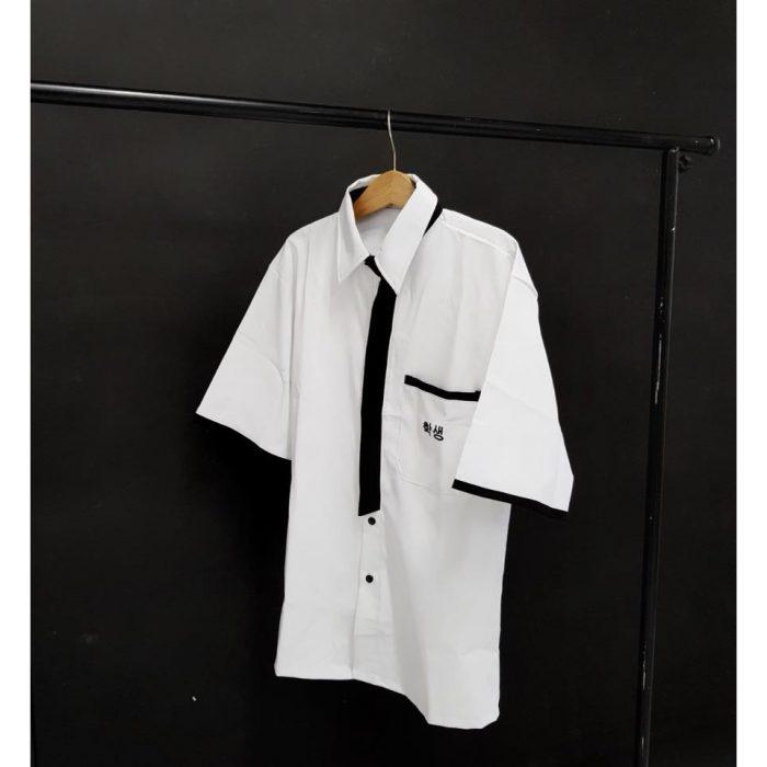 AL113: Đồng phục – Áo Sơ mi học sinh viền đen