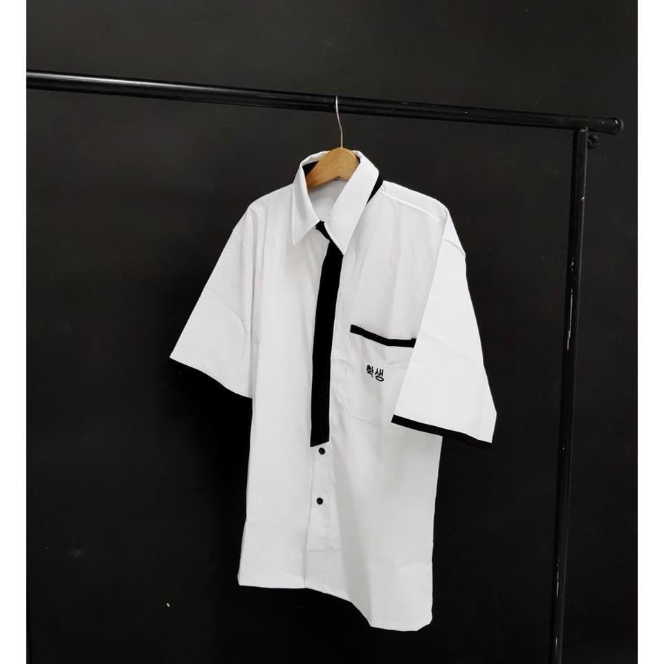 AL113: Đồng phục – Áo Sơ mi học sinh viền đen0
