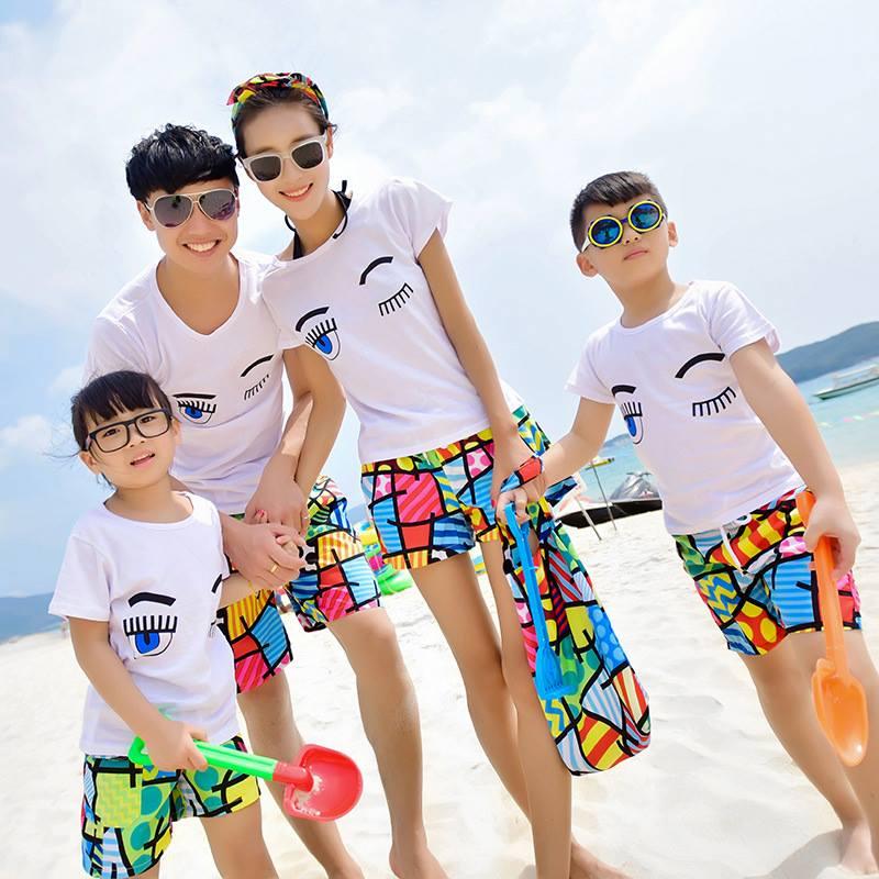 ĐB03 – Đồ đi biển cho gia đình (áo mắt, quần cầu vồng)0